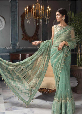 Aayra Embroidered Net Unstitched Saree AY19C 7 - Luxury Collection