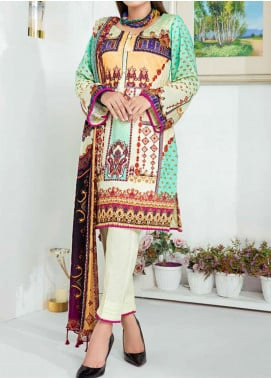 Aayra Printed Schiffli Unstitched 3 Piece Suit AY20W 01 Flower Flame - Winter Collection