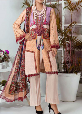 Aayra Printed Schiffli Unstitched 3 Piece Suit AY20W 05 Vintage Lines - Winter Collection