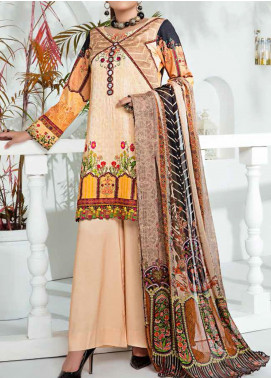 Aayra Printed Schiffli Unstitched 3 Piece Suit AY20W 08 Soft Sun - Winter Collection