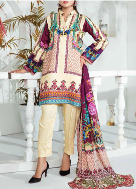 Aayra Printed Schiffli Unstitched 3 Piece Suit AY20W 09 Cosmic Latte - Winter Collection