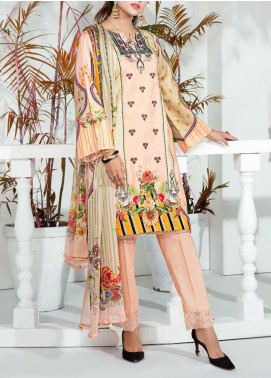 Aayra Printed Schiffli Unstitched 3 Piece Suit AY20W 12 Peach Nectar - Winter Collection