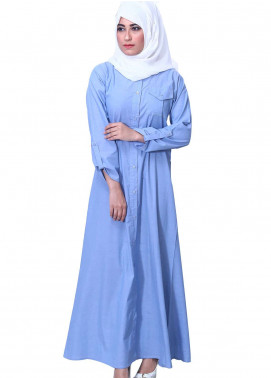 Ice Blue Georgette Formal Style Abaya for Ladies - ABY18 011