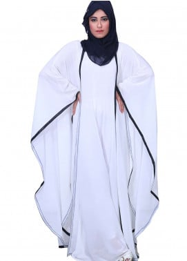 White Georgette Casual Style Abaya for Ladies - ABY18 013