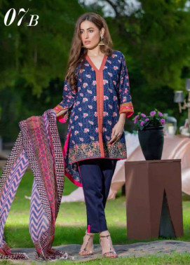 Arisha Chowdary BY ZS Embroidered Cotton Unstitched 3 Piece Suit AC17M 7B