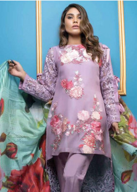 Al Dawood Textile Embroidered Organza Unstitched 3 Piece Suit AD18L 03 - Summer Collection