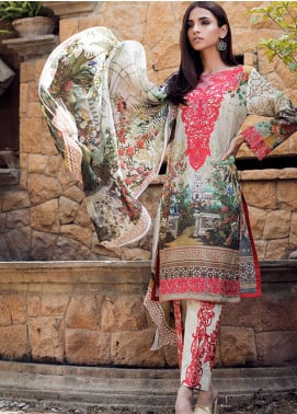 Adamjee Embroidered Lawn Unstitched 3 Piece Suit AD19L 03 - Spring / Summer Collection