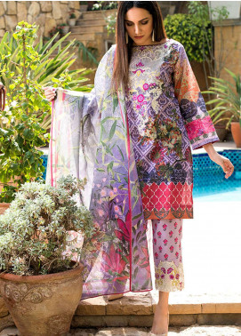 Adamjee Embroidered Lawn Unstitched 3 Piece Suit AD19L 07 - Spring / Summer Collection