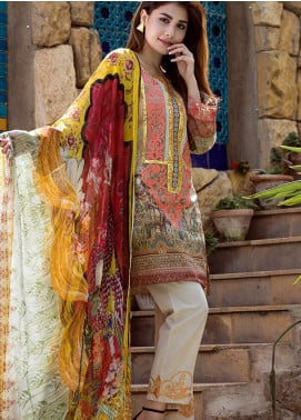 Adamjee Embroidered Lawn Unstitched 3 Piece Suit AD19L 14 - Spring / Summer Collection