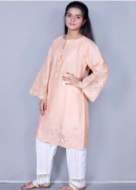 Addee Embroidered Cotton Stitched Kurtis K001 Peach