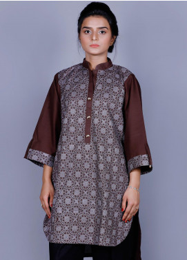 Addee Embroidered Cotton Stitched Kurtis K004 Brown