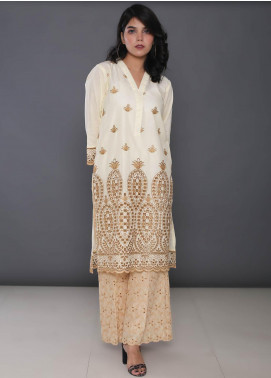 Addee Embroidered Cotton Stitched Kurtis K007 Cream