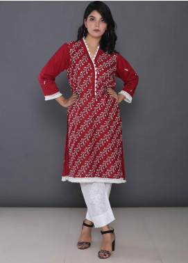 Addee Embroidered Cotton Stitched Kurtis K011 Red