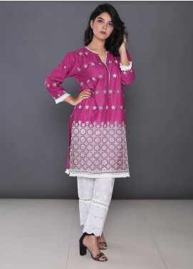 Addee Embroidered Cotton Stitched Kurtis K015 Purple