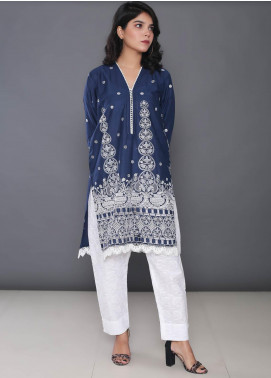 Addee Embroidered Cotton Stitched Kurtis K016 Blue