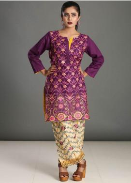 Addee Embroidered Chikankari Stitched Kurtis K025 Purple
