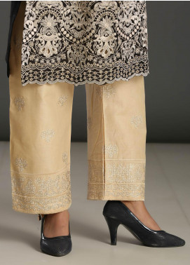 Addee Embroidered Missouri Stitched Trouser T003 White
