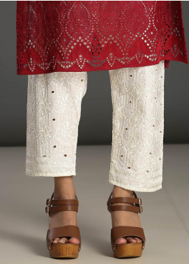 Addee Embroidered Missouri Stitched Trouser T004 White