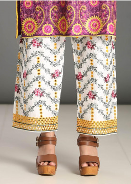 Addee Embroidered Missouri Stitched Trouser T005 White