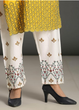 Addee Embroidered Missouri Stitched Trouser T006 White