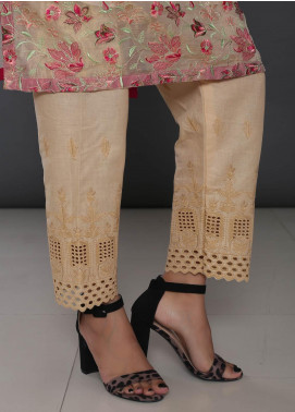 Addee Embroidered Cotton Stitched Trouser T233-F Foam