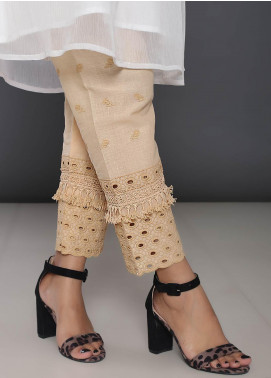 Addee Embroidered Cotton Stitched Trouser T241-F Foam