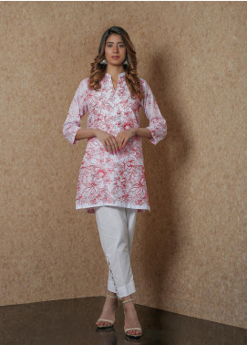 Addee Pret Embroidered Lawn Stitched Kurtis  Chienkari V4-S20-K055 White/Red-S
