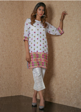 Addee Pret Embroidered Lawn Stitched Kurtis  Sindi Emb V4-S20-K054 White-S
