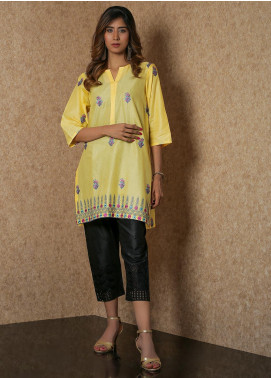 Addee Pret Embroidered Lawn Stitched Kurtis  V4-S20-K052 Yellow-S