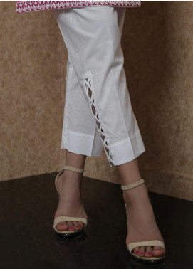 Addee Pret Embroidered Lawn Stitched Trousers V4-S20-T024 White-S