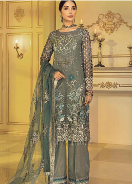 Afrozeh Embroidered Chiffon Unstitched 3 Piece Suit AF20C 02 - Luxury Collection