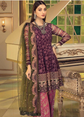 Afrozeh Embroidered Chiffon Unstitched 3 Piece Suit AF20C 04 - Luxury Collection