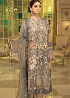 Afrozeh Embroidered Chiffon Unstitched 3 Piece Suit AF20C 10 - Luxury Collection