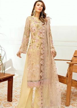 La Fleur by Afrozeh Embroidered Chiffon Unstitched 3 Piece Suit AF20LF 04 LUSTROUS LEMON - Luxury Collection