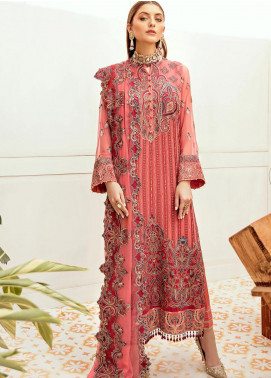 La Fleur by Afrozeh Embroidered Chiffon Unstitched 3 Piece Suit AF20LF 05 MELON BEET - Luxury Collection