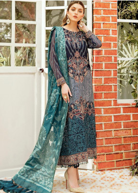 La Fleur by Afrozeh Embroidered Chiffon Unstitched 3 Piece Suit AF20LF 08 PRISTINE PEACOCK - Luxury Collection