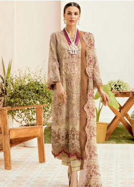 La Fleur by Afrozeh Embroidered Chiffon Unstitched 3 Piece Suit AF20LF 10 BUTTER BLONDIE - Luxury Collection