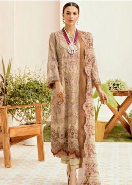 La Fleur by Afrozeh Embroidered Chiffon Unstitched 3 Piece Suit AF20LF 10 BUTTER BLONDIE - Luxury Collection