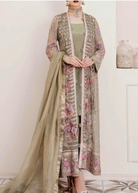 Afrozeh Embroidered Chiffon Unstitched 3 Piece Suit AF20LA 03 MIGNONETTE SQUALL - Luxury Collection