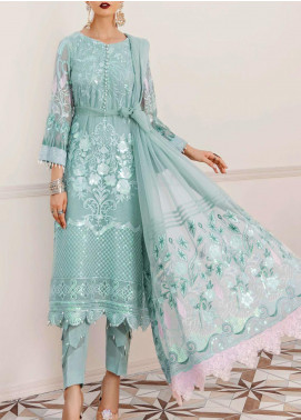 Afrozeh Embroidered Chiffon Unstitched 3 Piece Suit AF20LA 08 HAZY SKY - Luxury Collection