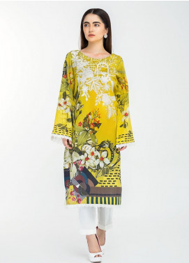 Afrozeh Embroidered Lawn Stitched Kurtis 03 Yellow Meadows