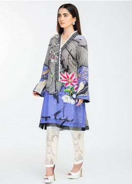 Afrozeh Embroidered Lawn Stitched Kurtis 04 Regal Blue
