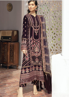 Naghma by Afrozeh Embroidered Velvet Unstitched 3 Piece Suit AF20N 08 Gul e Rana - Luxury Collection