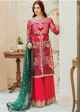 Afrozeh Embroidered Organza Unstitched 3 Piece Suit AFR19C 01 Fuchsia Viridescent - Luxury Collection