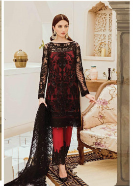 Afrozeh Embroidered Zari Net Unstitched 3 Piece Suit AFR19C 05 Black Ruby - Luxury Collection