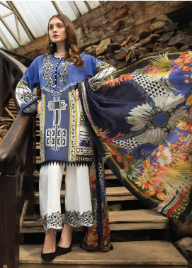 Afrozeh Embroidered Lawn Unstitched 3 Piece Suit AF20S 08 Statice - Spring / Summer Collection