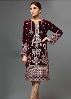 Afrozeh Embroidered Velvet Unstitched 2 Piece Suit AF19V 2 Ruby Gloir - Winter Collection
