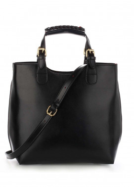 Anna Grace London Hard Faux Leather Shoulder  Bags  for Women  Black with Plain Texture