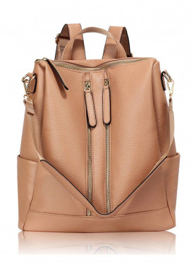 Anna Grace London Smooth Backpack Bags  for Women  Nude with Grainy Texture