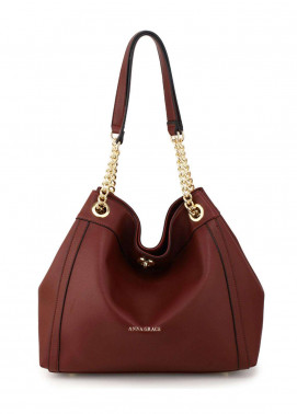 Anna Grace London Faux Leather Hobo Bags  for Women  Burgundy with Smooth Texture